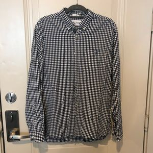 Men's navy blue checkered shirt